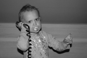 Elaina is having a very important call, don't bother her.